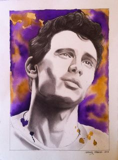"""James Franco, 11""""x15"""", Graphite and Watercolor on BFK rives paper, 2013"""