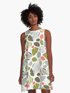 'Ginkgo Inspired' A-Line Dress by Amanda D-Hay Designer Dresses, Amanda, Tank Man, Advertising, Group, Clothes For Women, Lady, Board, Clothing