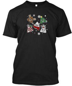 Christmas Poop Emoji Shirt Black T-Shirt Front