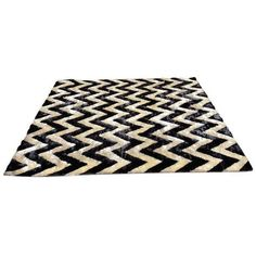 Masada Black & White Zig Zag Shag Rug- 8′1″ × 10′ (845 PLN) ❤ liked on Polyvore featuring home, rugs, ivory area rug, shag area rugs, black and white chevron rug, black and white area rugs and black and white rug