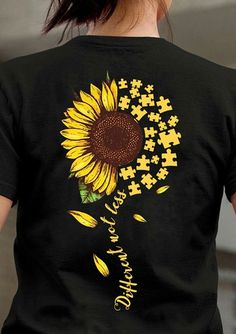 Autism Sunflower Different Not Less Ladies T-Shirt Cotton Men An - Prom Cute Tattoos For Women, T Shirts For Women, Sunflower Shirt, Sunflower Clothing, Sunflower Pictures, Sunflower Quotes, Autism Tattoos, Painted Clothes, Women's T Shirts