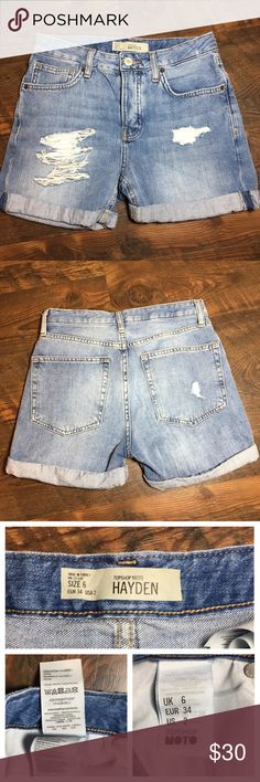 "Topshop moto hayden distressed denim shorts US 2 Waist 13"", rise 9"", inseam 3.5"" Topshop Shorts Jean Shorts"