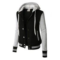 Womens Contrast Sleeve Fleece Varsity Baseball Hoodie Jacket  Brand: Jamickiki Welcome to our store!