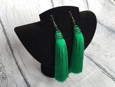 Green tassel earrings Long Tassel earrings Cluster jewelry