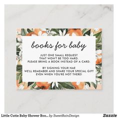 Little Cutie Baby Shower Book Request Cards Baby Shower Cards, Baby Shower Parties, Baby Shower Themes, Baby Shower Gifts, Shower Ideas, Baby Party, Shower Party, Baby Gifts, Shower Orange