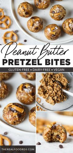 A perfect after-school snack, these Sweet and Salty Peanut Butter Bites are easy to make, are a healthy snack option, and have the best sweet and salty combination.  They're the best gluten-free and vegan peanut butter energy bites! || The Real Food Dietitians || Healthy Snack Options, Easy Snacks, Healthy Breakfast Recipes, Smart Snacks, Healthy Snacks, Peanut Butter Energy Bites, Vegan Peanut Butter, Peanut Butter Recipes, Baking Recipes