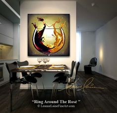 """Ring Around The Rosé"" by wine artist © Leanne Laine Fine Art #wineart #winepainting"