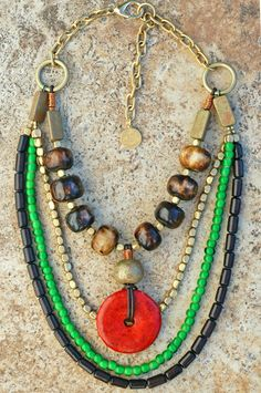 Zaire: African-Inspired Multi-Strand Beaded Coral Donut Necklace $300