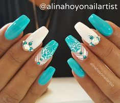 Turquoise blue nails turquoise and white nail art design idea turquoise blue stiletto nails . Fancy Nails, Bling Nails, Trendy Nails, My Nails, Stiletto Nails, Acrylic Nail Designs, Nail Art Designs, Acrylic Nails, Exotic Nail Designs