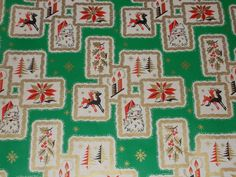 VTG CHRISTMAS WRAPPING PAPER GIFT WRAP 1950 ATOMIC AGE RETRO TREES DEER SANTA