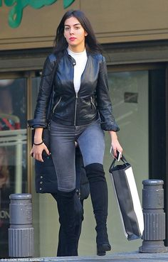 Cristiano Ronaldo's girlfriend Georgina Rodriguez steps out for a spot of shopping in Madrid with a male pal in a slick leather jacket and grey skinny jeans Cristiano Ronaldo Girlfriend, Ronaldo Wife, Long Boots With Heels, High Boots, Celebrity Outfits, Celebrity Style, Japanese School Uniform Girl, Corps Parfait, Blazers