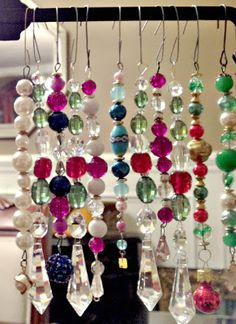Hand crafted vintage bead icicle ornaments...turn broken vintage jewelry into Christmas gifts or for a little bling on your tree!  Bella Rosa Antiques: A Little Pink Christmas