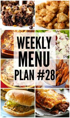 An all new weekly menu Plan to help you plan out your week!