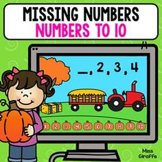 Numbers to 10 practice where kids look at the series and pick the pumpkin that makes it true. Absolutely love these kindergarten and first grade digital math games! Number Sense Activities, Graphing Activities, Kindergarten Activities, Preschool, Early Learning, Kids Learning, Math Centers, Learning Centers, Math Pages