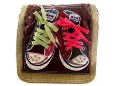 Bandolera tela zapatillas marrón