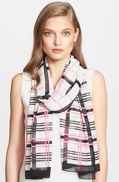 St. John Collection Plaid Print Silk Georgette Scarf available at #Nordstrom