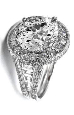 Large Vintage Graduated Baguette Diamond Halo Engagement Ring