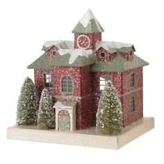 Red Paperboard Putz Vintage Christmas Village building  shelley b home and holiday
