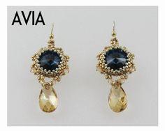 AVIA Swarovski Rivoli Earrings tutorial instructions by bead4me