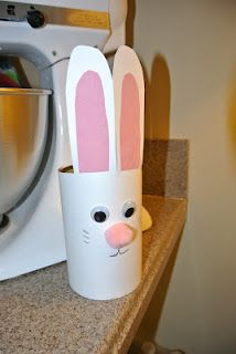 Bunny Craft for Easter/Spring glue a cottonball on the back for his tail. Too cute, and could tie in for an Earth Day/Recycling unit too! Spring Activities, Craft Activities For Kids, Preschool Crafts, Crafts For Kids, Bunny Crafts, Cute Crafts, Easter Crafts, Easter Ideas, Holiday Fun