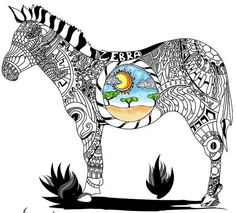 Zentangle Zebra Coloring Page For Adults