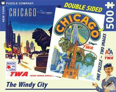 The Windy City – New York Puzzle Company. Double sidded Chicago Puzzle. 500 Pieces.