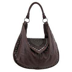 Brown Studded Faux Leather Purse Handbag Satchel Bag Gunmetal Detail Vegan