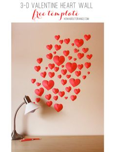 3-D Paper Heart Wall – Free Template Download from How About Orange