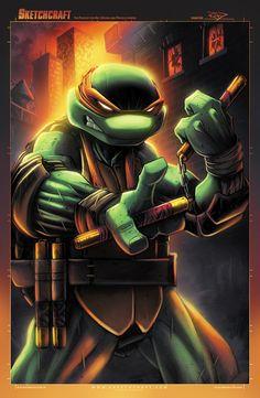 "Michelangelo – TMNT fan art by Rob Duenas""Colored in PS -… Ninja Turtles Art, Teenage Mutant Ninja Turtles, Tmnt Mikey, Samurai, Arte Dc Comics, Michelangelo, Comic Books Art, Book Art, Anime"