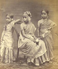 Studio portrait of Three Girls wearing jewellery-Madras(Chennai),Tamil Nadu,1870