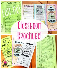 A ready-to-go Class Brochure template that you can edit and print in minutes! Great for Open House, Meet the Teacher Night, or the First Day of School! Back To School Night, Last Day Of School, New School Year, School Fun, School Ideas, Back To School Activities, Kindergarten Activities, Preschool, Curriculum Night