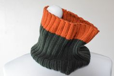 Ribbed hand-knit sports tube scarf cowl by TheKnittingMoon on Etsy