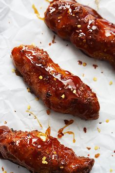 Baked Firecracker Chicken Tenders - so easy with the most amazing sweet and spicy Asian sauce - plus they're so much healthier than the fried version! | Creme de la Crumb