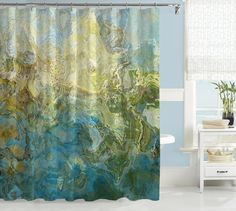 Abstract art shower curtain, turquoise and green shower curtain, Wintercreek