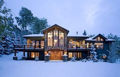 mountain home, snow. (Or ski lodge? One may never know.)