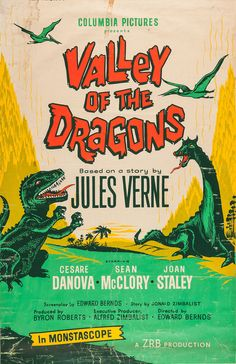 """Apparently, Columbia Pictures didn't quite know what to do promoting Valley of the Dragons (1961), a film that relied solely on footage from """"One Million B.C."""" released two decades earlier for its dinosaurs. For the record, the creature on the right is a lame version of Ray Harryhausen's dragon from """"The 7th Voyage of Sinbad."""""""