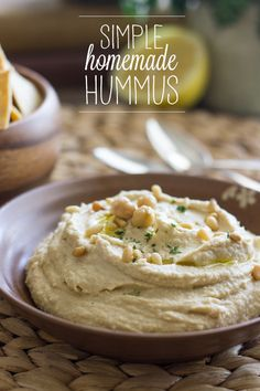 Five minutes to make, and perfect for healthy snacking! This simple homemade hummus is amazing.
