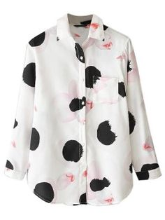 Shop White Floral Print Long Sleeve Shirt from choies.com .Free shipping Worldwide.$16.79