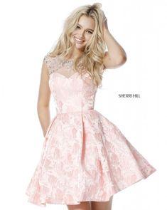 Sherri Hill - 51878 Embellished Illusion Bateau Brocade A-line Dress Sherri Hill Prom Dresses Short, Pink Prom Dresses, A Line Prom Dresses, Grad Dresses, Homecoming Dresses, Pink Dress, Dance Dresses, Club Dresses, Party Dresses