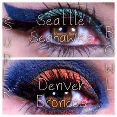 Super Bowl XLVIII Eye Make Up Looks: Seattle Seahawks and Denver Broncos