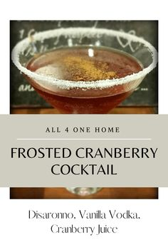 Bbq Drinks, Cocktail Drinks, Cocktail Recipes, Alcoholic Drinks, Festive Cocktails, Christmas Cocktails, Classic Cocktails, Disaronno Cocktails, Cranberry Juice Cocktail