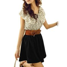 Allegra K Women Dots Print Flouncing Patchwork Dress Off White Black M: Amazon.com: Clothing.#dresses#womens clothing