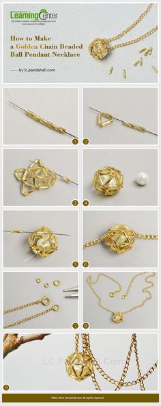 How to Make a Golden Chain Beaded Ball Pendant NecklaceBrush up on your wire wrapping skills and use this DIY wire wrapped pearl tutorial from PandaHall to create a beautiful pearl pendant.This Pin was discovered by ZulPandahall Usstock Beads, Beads Bead Jewellery, Seed Bead Jewelry, Chain Jewelry, Jewlery, Diy Schmuck, Schmuck Design, Do It Yourself Schmuck, Beaded Jewelry Patterns, Homemade Jewelry