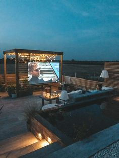 When you've spent the last two months solidly working on creating your dream garden space, the last thing you want to do on date night is leave the house. Rooftop Terrace Design, Terrace Garden Design, Rooftop Patio, Patio Design, Home Cinema Room, Outdoor Cinema, Home Cinemas, Backyard, Upstairs Deck Ideas
