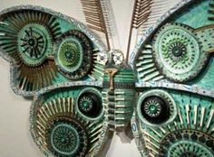 Michelle Stitzlein, a Baltimore-based artist who creates stunning sculptures of moths and whimsical flowers from found objects such as piano keys, broken china, license plates and bottlecaps