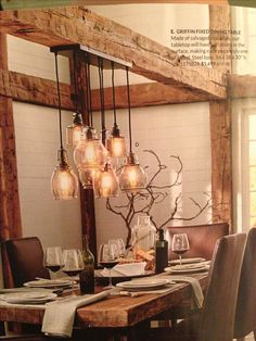 Love the rustic table and beamwork. #Kitchen #Remodel- Light Fixture over Table.