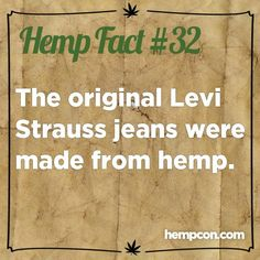 Levis were first made from hemp. Weird Facts, Fun Facts, Save Our Earth, Cannabis Plant, Cannabis Oil, Eco Friendly Fashion, Hemp Oil, Medical Marijuana, Good To Know