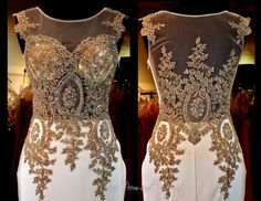 Ivory/gold formfittng Mermaid Pageant or Prom Gown with Gorgeous Embroidered Illusion Bodice and Sweeping Train at Rsvp Prom and Pageant, Atlanta, GA Pageant Dresses, Homecoming Dresses, Pretty Dresses, Beautiful Dresses, Long Evening Gowns, Long Gowns, Gowns Of Elegance, Queen, Formal Gowns