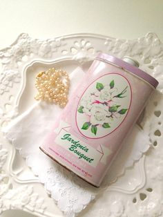Vintage Gardenia Bouquet Talcum Powder Tin Can by MariasFarmhouse