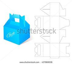 Box. Gift Blueprint Box Template. Craft Box Mockup. Retail Cardboard with DIe-cut Pattern. Dieline.